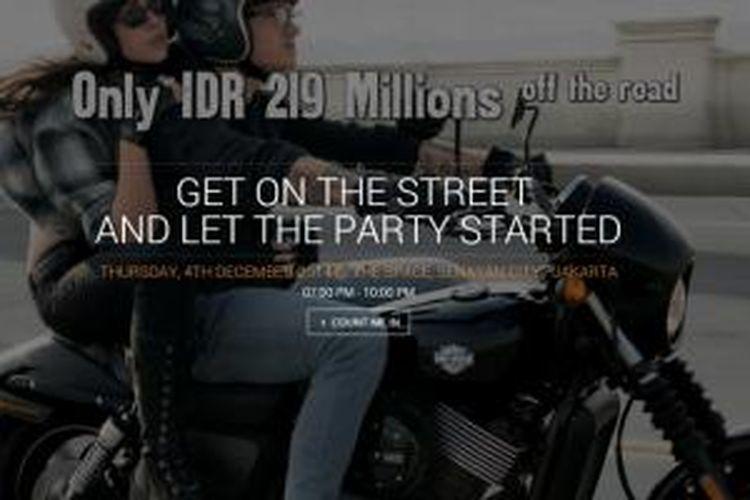 Harga off the road Harley-Davidson Street 500 terpampang di microsite.
