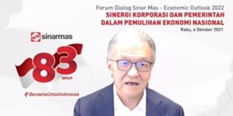 Board Member Sinar Mas Franky O Widjaja dalam webinar bertajuk Sinergi Korporasi dan Pemerintah dalam Pemulihan Ekonomi Nasional, Rabu (6/10/2021).