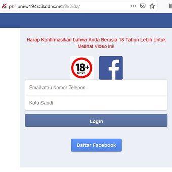 Situs phising yang memiliki antarmuka mirip Facebook.com.