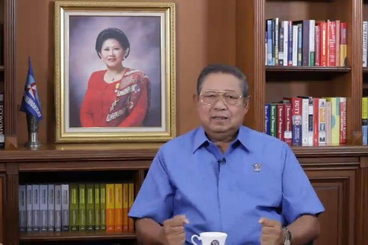 Ketua Majelis Tinggi Partai Demokrat Susilo Bambang Yudhoyono dalam video arahan kepada pimpinan dan kader Partai Demokrat yang dirilis pada Rabu (24/2/2021).