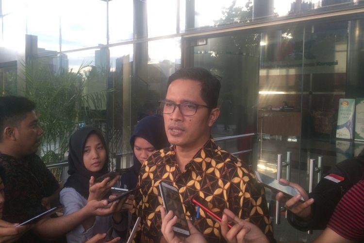 Juru Bicara KPK Febri Diansyah saat ditemui di Gedung KPK, Jakarta, Kamis (21/6/018).