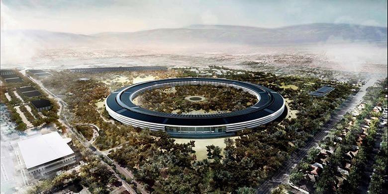 Ilustrasi bangunan kantor baru Apple, Campus 2