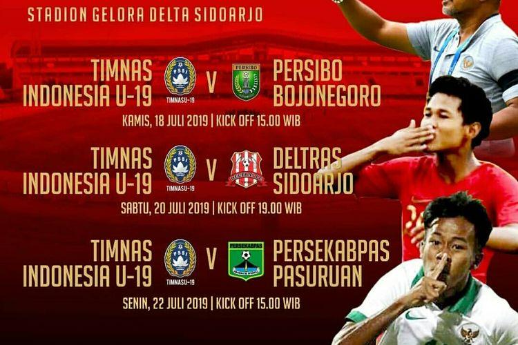Asprov Jatim menyelenggarakan uji coba Timnas Indonesia U-19 melawan tiga tim Liga 3 sebagai pemanasan Liga 3 zona Jawa Timur yang akan dimulai kompetisi pada 27 Juli 2019.