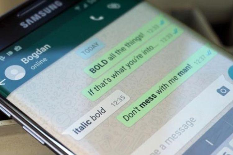 WhatsApp beta bisa mengubah format huruf jadi bold dan italic