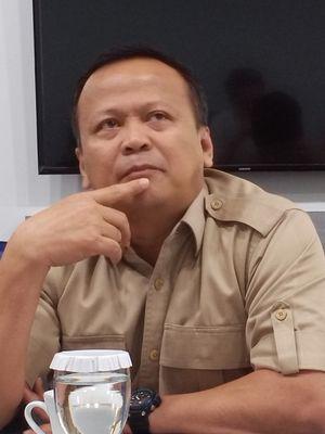 Wakil Ketua Umum Partai Gerindra Edhy Prabowo di Menara Kompas, Jakarta, Senin (12/8/2019).