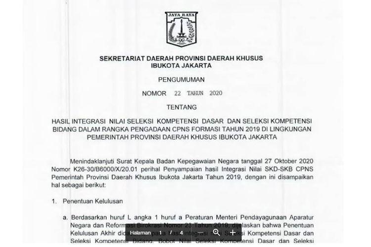 Tangkapan layar pengumuman CPNS 2019 Pemprov DKI Jakarta