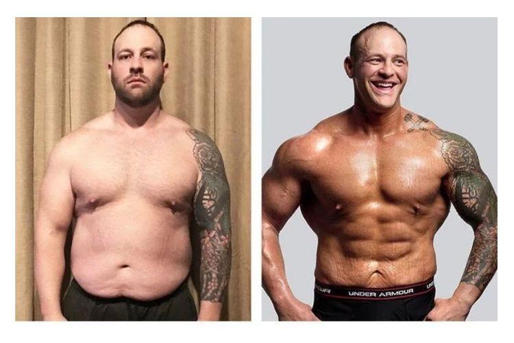 Nathaniel Hargrove sebelum dan sesudah menuntaskan program latihannya.