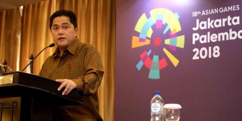 Ketua Inasgoc Erick Thohir memaparkan perkembangan kesiapan Indonesia selaku tuan rumah Asian Games 2018 pada acara Asian Games Media Forum di Jakarta dan Palembang, 27-28 November 2017.