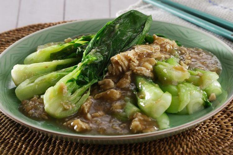 Ilustrasi ca pakcoy, Chinese Food tumis sawi hijau kecil.