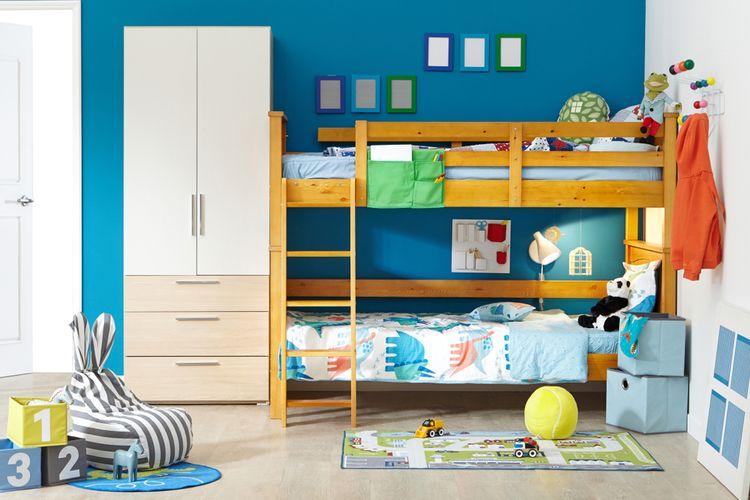 Ilustrasi tempat tidur tingkat di kamar anak.