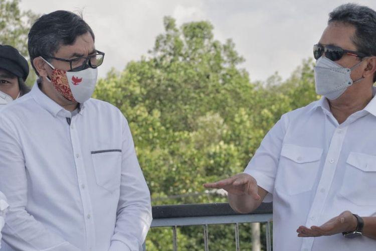 Menteri Kelautan dan Perikanan (Menteri KP) Sakti Wahyu Trenggono saat melakukan kunjungan kerja (kunker) di BROL, yang juga didampingi Bupati dan Wakil Bupati (Wabup) Jembrana serta sejumlah pejabat teras Kementerian KP, Jumat (30/7/2021).