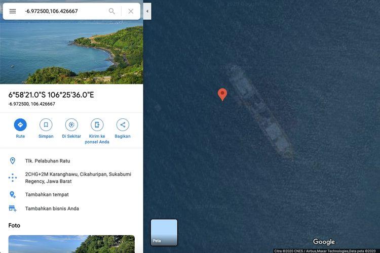 Google Maps Kapal Karam di Pantai Cikembang, Sukabumi, Jawa Barat.