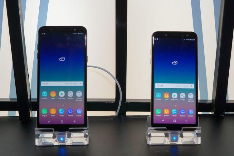 Falaxy A6 Plus (kiri) dan Galaxy A6 (kanan).