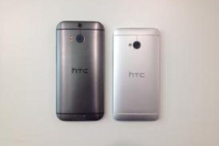 Perbedaan ukuran antara HTC One M8 dan HTC One