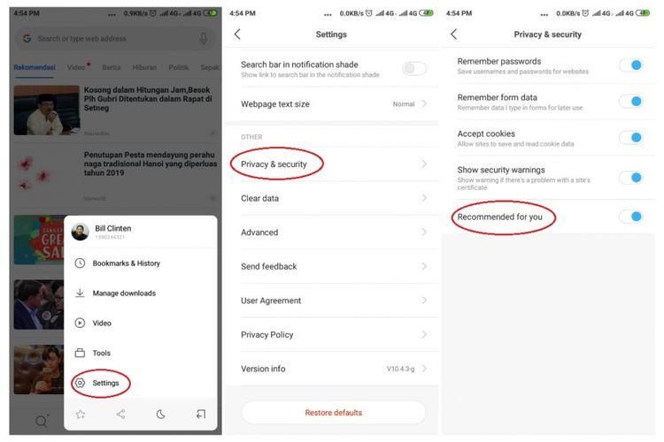 Ilustrasi langkah mematikan fitur rekomendasi Mi Browser