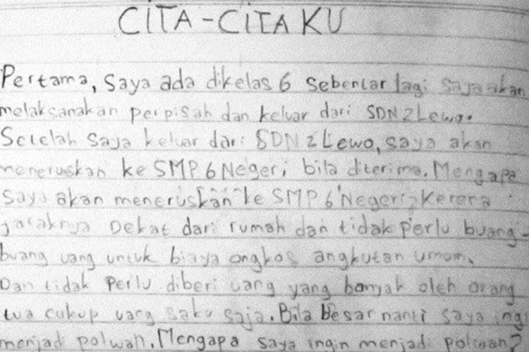 Catatan Delis Sulistina (13) siswi SMPN 6 Tasikmalaya yang jenazahnya ditemukan di dalam gorong-gorong sekolahnya, Senin (27/1/2020).
