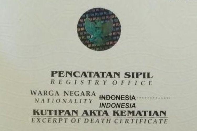 Illustrasi Surat atau Akta Kematian
