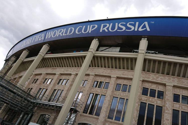 Tampak luar Stadion Luzhniki, tempat pembukaan Piala Dunia 2018. Foto diambil pada 9 Juni 2018.
