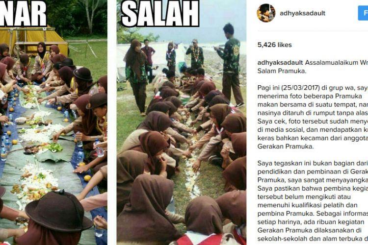 Adhyaksa Dault mengunggah foto anggota pramuka yang makan nasi beralaskan tanah dan rumput.