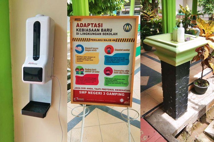 Persiapan pembelajaran tatap muka (PTM) terbatas di SMP Negeri 3 Gamping, Sleman, Daerah Istimewa Yogyakarta (DIY).