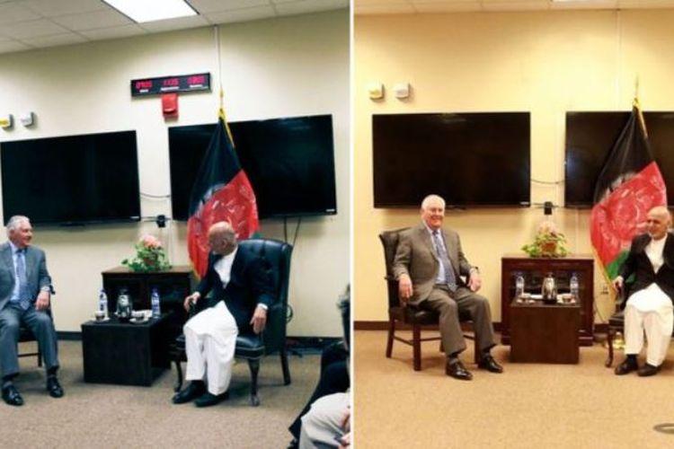 Kedua foto ini sama-sama memperlihatkan pertemuan Menlu AS Rex Tillerson dan Presiden Afganistan Ashraf Ghani. Namun, ada beberapa perbedaan yang menimbulkan pertanyaan.