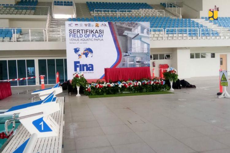 Venue Aquatic PON XX Papua memperoleh sertifikasi atau pengakuan dunia dari Federation Internationale de Natation (FINA).