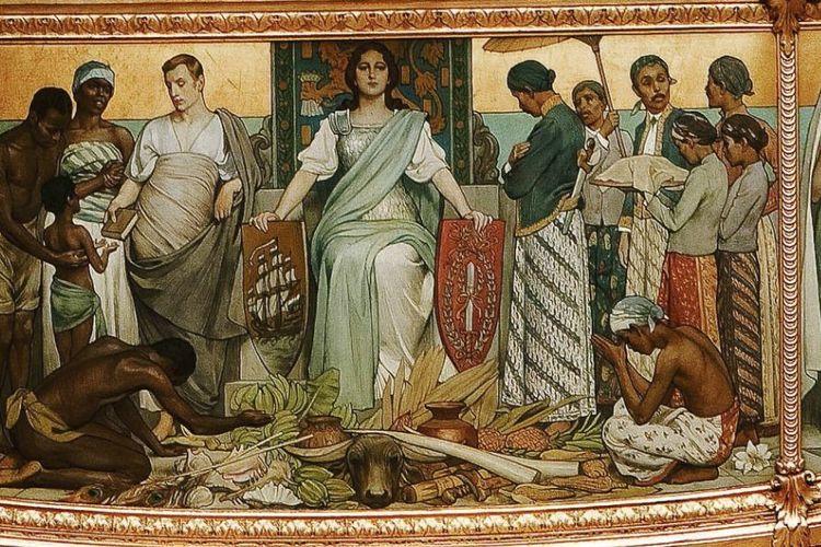 Salah satu panel lukisan di kereta emas Belanda atau Gouden Koets, menggambarkan situasi Indonesia di zaman kolonial. Lukisan ini bernama Hulde der Kolonieen.