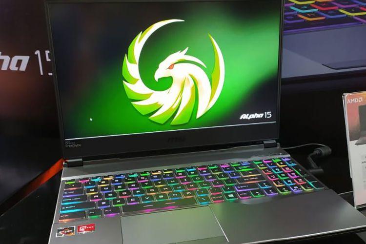 Laptop MSI Alpha 15 A3DD dengan RGB backlight per tombol.