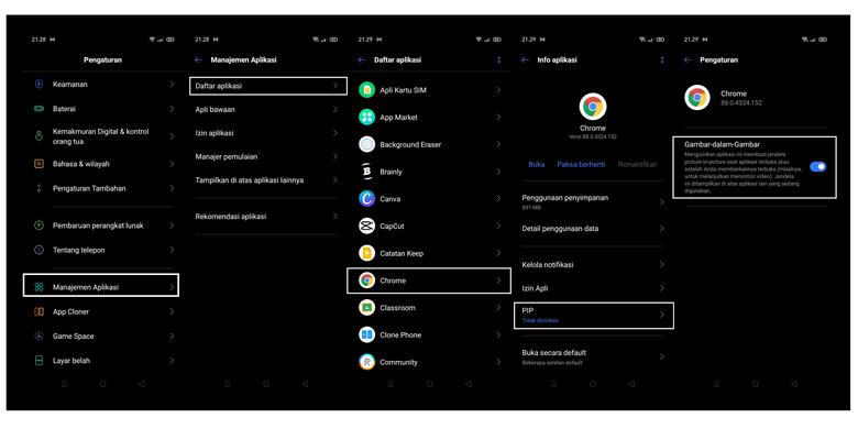 Langkah-langkah mengaktifkan fitur PiP pada Chrome di Android 10.