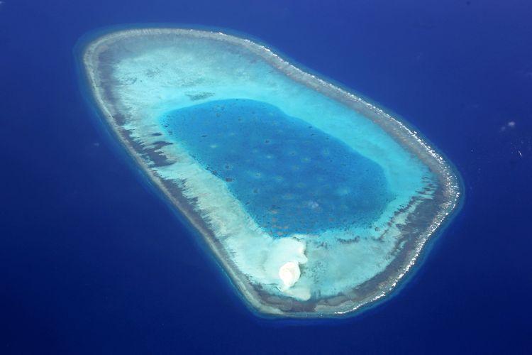 Passu Keah di Kepulauan Xisha yang juga dikenal dengan nama Kepulauan Paracel. Foto ini diambil di udara pada 19 Juni 2014.