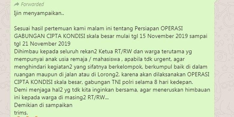 Pesan berantai yang tersebar di WhatsApp tentang operasi Cipta Kondisi TNI Polri