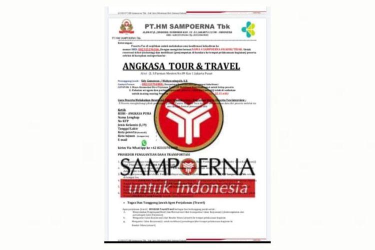 Surat palsu wawancara kerja mengatasnamakan PT HM Sampoerna Tbk.