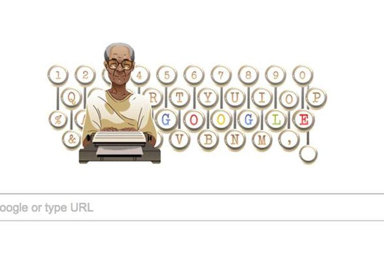 Google Doodle Senin (6/2/2017) merayakan ulang tahun Pramoedya Ananta Toer ke 92