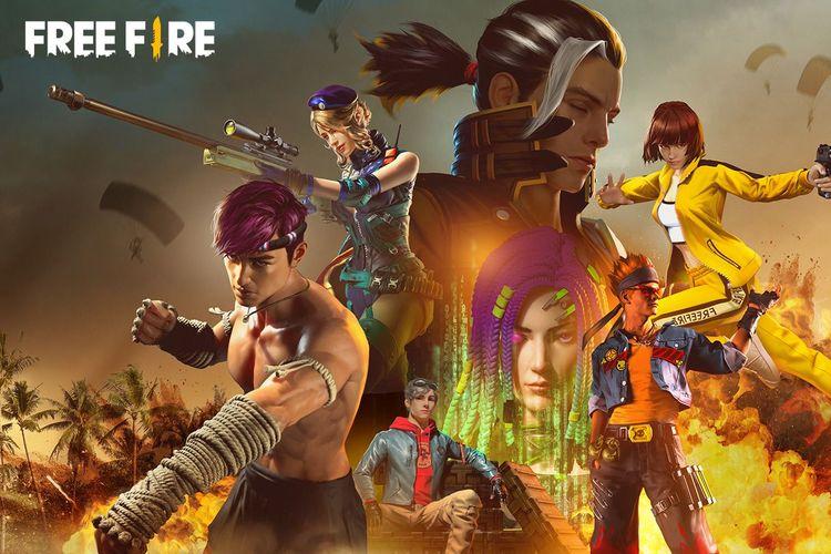 Ilustrasi karakter yang terdapat pada game battle royale Free Fire.