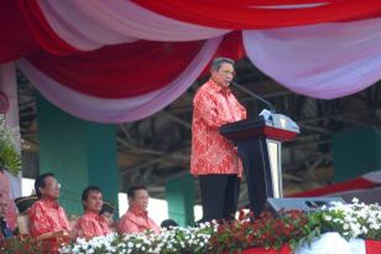 Presiden RI Susilo Bambang Yudhoyono saat berpidato diacara peringatan Haornas di Yogyakarta