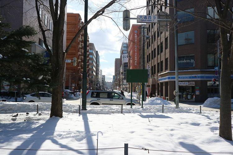 Salju menyelimuti area Sapporo Snow Festival ke-70 di Odori Park, Kota Sapporo, Prefektur Hokkaido, Jepang, Senin (11/2/2019). Sapporo Snow Festival merupakan acara musim dingin tahunan yang digelar di Kota Sapporo.
