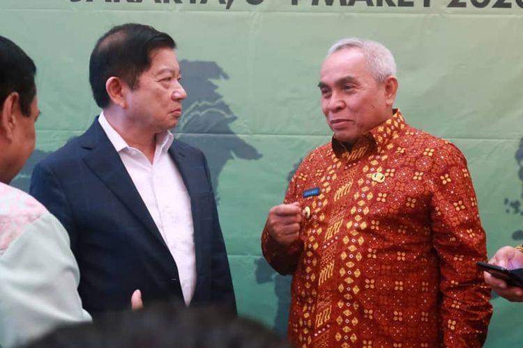 Menteri Bappenas/PPN Suharso Monoarfa bersama Gubernur Kaltim Isran Noor saat rapat di Kantor Bappenas Jakarta, Selasa (3/3/2020).