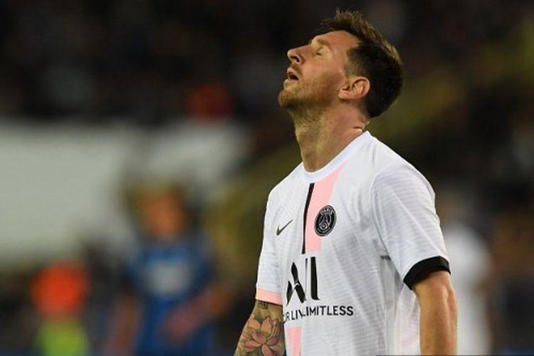 Salah satu eskpresi penyerang Paris Saint-Germain, Lionel Messi, dalam pertandingan Grup A Liga Champions antara Club Brugge vs PSG di Stadion Jan Breydel.