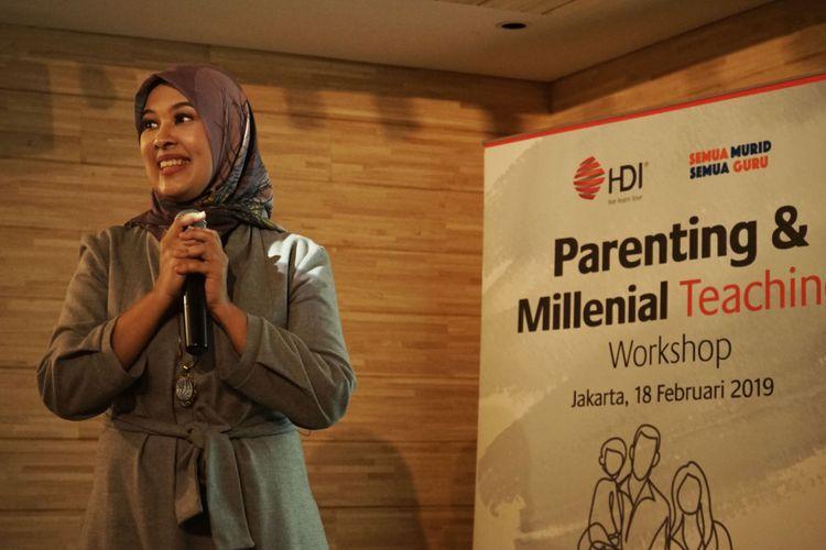 Najelaa Shihab, praktisi pendidikan dan pendiri SMSG (komunitas Satu Murid Satu Guru) dalam seminar Parenting & Millennial Teaching Workshop di Jakarta (18/2/2019).