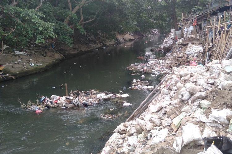 Kondisi Bantaran Kali Ciliwung yang berada di kawasan Kampung Melayu, Jatinegara, Jakarta Timur, Rabu (14/8/2019)