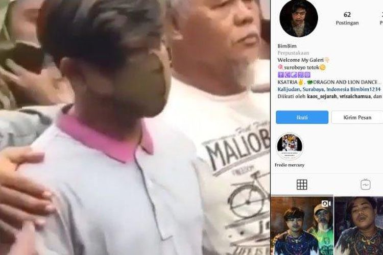 Pemuda Surabaya yang diduga hina Nabi Muhammad ditangkap anggota Polrestabes Surabaya.