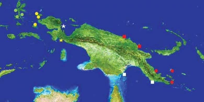Penyebaran hiu genus Hemiscyllum. H. freycineti (lingkaran kuning), H. galei (tanda bintang putih), H. henryi (tanda bintang kuning), H. hallstromi (kotak putih), H. halmahera (lingkaran hijau), H. strahani (kotak merah), and H. michaeli (lingkaran merah).