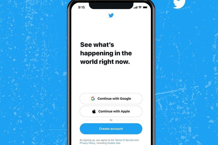 Ilustrasi dukungan Google dan Apple yang memungkinkan pengguna untuk masuk ke Twitter dengan lebih cepat.