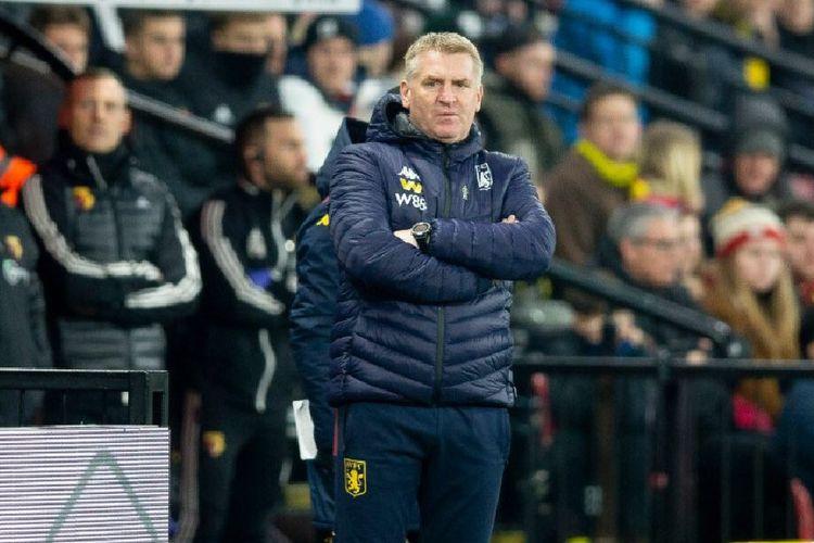 Pelatih Aston Villa, Dean Smith saat laga kontra Watford
