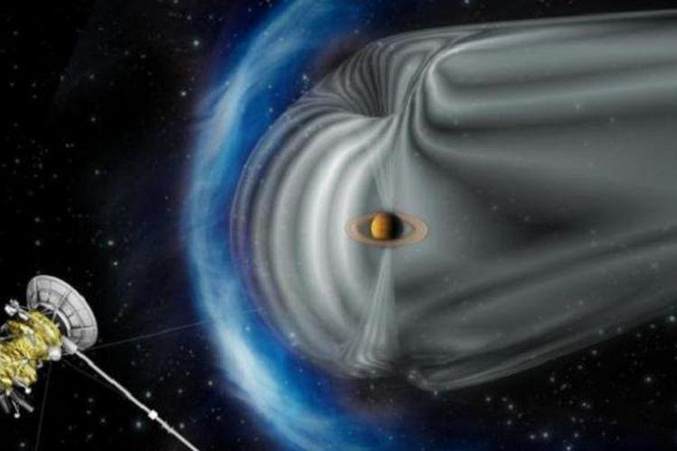 Ilustrasi Cassini yang mengamati badai di Saturnus