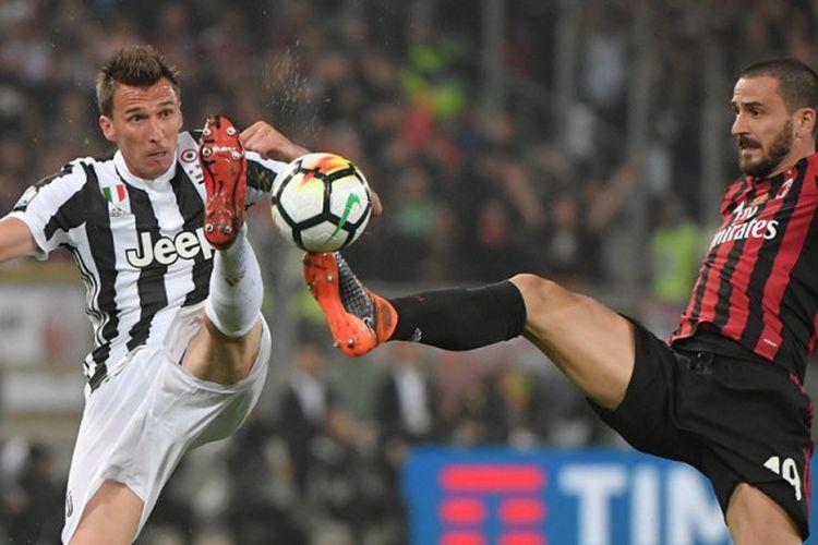 Penyerang Juventus, Mario Mandzukic (kiri), berebut bola dengan bek AC Milan, Leonardo Bonucci, dalam laga final Coppa Italia di Stadion Olimpico, Roma pada 9 Mei 2018.