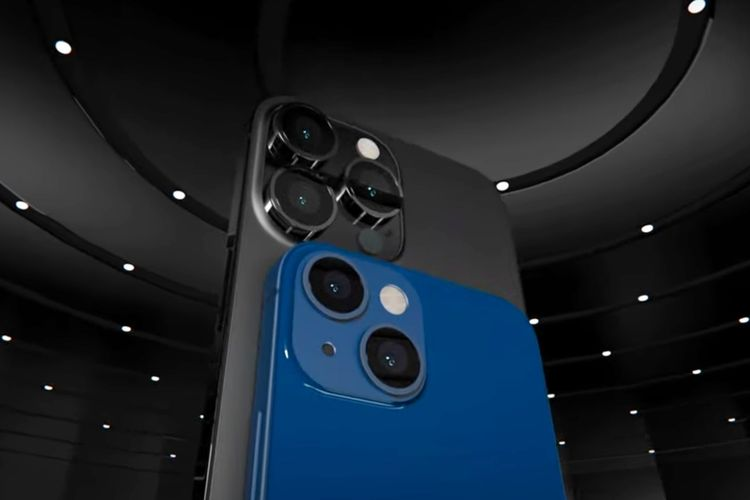Bocoran desain iPhone 13 Pro Max (hitam) dan iPhone 13 Mini (biru).