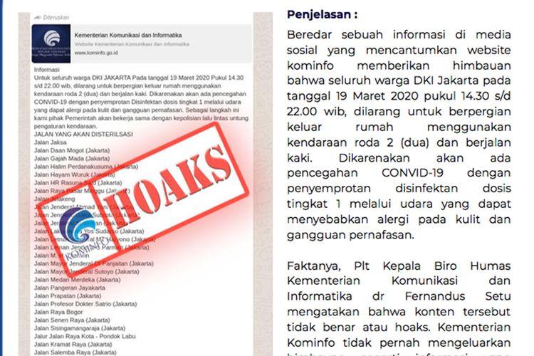 Kabar warga Jakarta dilarang bepergian pada Kamis, 19 Maret 2020, karena ada penyemprotan disinfektan adalah hoaks yang mengatasnamakan Kementerian Kominfo.