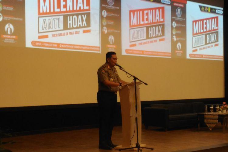 Kepala Divisi Humas Polri Irjen Muhammad Iqbal dalam seminar bertajuk Milenial Anti Hoaks di Vokasi UI Depok, Jawa Barat, Senin (4/1/2019).