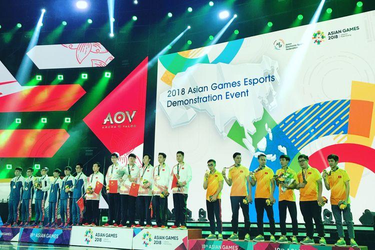 Timnas China keluar sebagai juara kompetisi AOV dan berhak untuk mendapatkan medali emas di ajang eSports pertama Asian Games.
